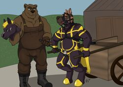 2017 absurd_res anthro bear bit_gag brown_fur canine cart chastity chastity_cage clothing digital_drawing_(artwork) digital_media_(artwork) domination duo fur gag gagged harness_bit_gag hi_res hypnosis male mammal mask mind_control muscular muscular_male muzzle_(object) muzzled overalls penis petplay plaguedobsession ponyplay public riding_crop roleplay rubber shiny skinsuit slightly_chubby spiral spiral_eyes tight_clothing whip yaoi