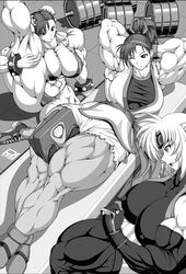 3girls abs arms_behind_head bare_shoulders bikini capcom chun-li cleavage elbow_gloves female female_only gloves gym liu_yungmie martial_champion monochrome muscles muscular_female navel ponytail racheal ren_(tainca2000) thick_thighs wink