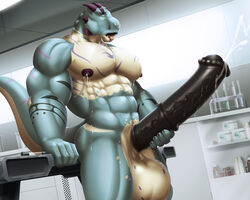 2018 5_fingers abs animal_genitalia animal_penis anthro arm_support ass atlas_(fusion_h0ss) balls biceps big_balls big_pecs big_penis big_tail black_markings black_penis black_skin blue_eyes blue_skin blue_tail cum cum_drip cum_on_penis cumshot dinosaur dream_and_nightmare dripping ejaculation equine_penis erection hi_res horn huge_balls huge_cock humanoid_hands inside laboratory long_tail looking_pleasured male male_lactation markings masturbation medial_ring multicolored_skin multicolored_tail muscular muscular_male nipples nude obliques open_mouth orgasm pecs penile_masturbation penis pink_tongue purple_horn purple_markings purple_nipples purple_skin purple_tail raised_tail scalie side_view snout solo standing stroking tan_skin tan_tail theropod thick_penis thick_thighs tongue tongue_out triceps tyrannosaurus_rex vein veiny_penis white_balls