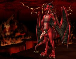 anthro demon dragon hell holding_penis humanoid_penis male nude penis pubes scalie solo uncut weisswinddragon wings
