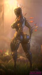 1girl 2017 3d absurdres animated ass ass_shake big_ass big_breasts bodysuit bouncing_ass bouncing_breasts breasts creepychimera female female_only forest grass highres no_humans no_sound oberon_(warframe) outdoors rule_63 source_filmmaker standing thick_thighs warframe webm