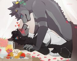 ambiguous_penetration anthro bed_sheet bedding beverage bioluminescence black_fur black_hair blue_eyes blueberry_(fruit) breasts constellation dragon ear_piercing eye_contact facial_piercing feline female flower food fruit fur glowing glowing_eyes grey_fur hair hand_holding heart holidays lady_stardust lying male male/female mammal mane markings missionary_position nose_piercing nude on_back orange_juice pastry penetration piercing plant romantic saber-toothed_cat septum_piercing sex smile spots strawberry stripes suutooroo tasteful terry_james tray valentine's_day white_fur