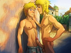 2boys age_difference anma_(ryuichi87) blonde_hair cum erection family father_and_son incest male_focus multiple_boys naughty_face outdoors penis public uzumaki_naruto yaoi