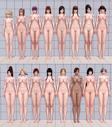12+girls 16girls 3d 6+girls abs areolae ayane_(doa) barefoot black_hair blonde_hair braid breasts brown_hair christie_(doa) dark-skinned_female dark_skin dead_or_alive fatal_fury feet female female_pubic_hair full_body grey_hair hair_ornament headdress helena_douglas hitomi_(doa) honey_select honoka_(doa) ii_naotora_(sengoku_musou) kasumi_(doa) king_of_fighters kokoro_(doa) lei_fang light-skinned lined_up lineup lisa_hamilton long_hair long_ponytail marie_rose medium_hair metagraphy mila_(dead_or_alive) momiji_(ninja_gaiden) multiple_girls ninja_gaiden nipples nude nyotengu pink_hair ponytail pubic_hair purple_hair pussy red_hair sengoku_musou shiranui_mai short_hair source_filmmaker take_your_pick tied_hair tina_armstrong toned twin_braids twintails very_long_hair