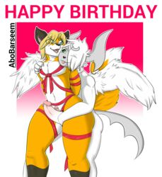 abobarseem aetius_(character) bandage birthday eyewear glasses humanoid_penis male male/male mega_absol mega_evolution nintendo penis penis_size_difference pokémon_(species) pokemon sex thigh_sex tongue tongue_out video_games