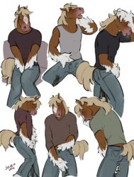2016 absurd_res anthro brown_fur bulge clothed clothing digital_drawing_(artwork) digital_media_(artwork) equine erection fur hi_res horse male mammal multicolored_fur multiple_poses omorashi pants peeing penis_outline pose simple_background solo two_tone_fur urine warmbodies watersports wetting white_background white_fur