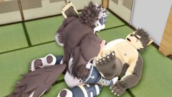 2018 3d_(artwork) anal anal_sex anthro balls belly blush canine closed_eyes digital_media_(artwork) duo erection fur furry headband horkeukamui male male/male malicekira mammal moritaka multicolored_fur muscular muscular_male nipples nude open_mouth overweight pawpads penetration penis slightly_chubby tokyo_afterschool_summoners white_fur wolf