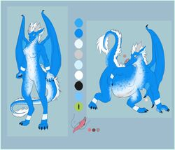 anthro blue_scales blush breasts crouching dragon female green_eyes hair invalid_color lactating looking_at_viewer marcine milk model_sheet nude pregnant pussy raised_tail scales scalie solo standing white_hair withelias