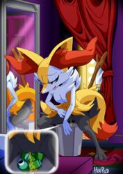 anthro biped braixen canine digital_media_(artwork) female fur hand_on_hip hi_res inner_ear_fluff is_(artist) mammal nintendo peeing pokémon_(species) pokemon pussy solo urine video_games watersports white_fur