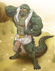 abs anthro asam biceps big_muscles big_penis blush clothed clothing crocodile crocodilian egyptian hand_behind_head humanoid_penis invalid_tag loincloth male muscular muscular_male partially_clothed pecs penis reptile river scalie solo standing teeth towel vein water wet wfa