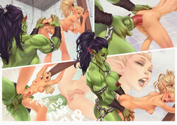 anal anal_sex anus ass bent_over blonde_hair breasts comic dickgirl elf erection futa_on_futa futanari green_skin intersex large_breasts large_penis nipples orc penis pointy_ears rino99 sex small_penis spread_anus spread_ass