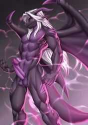 absurd_res alanscampos anthro athletic balls black_scales claws countershading dragon hair hi_res horn invalid_tag looking_at_viewer male nude penis purple_scales scales solo standing vein white_hair wings