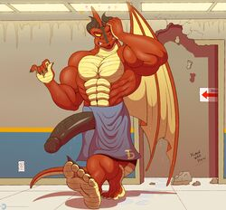 5_toes anthro big_penis claws clothed clothing dragon feet half-erect hi_res horn huge_cock humanoid_feet ineffective_clothing male muscular penis poking_out scalie toe_claws toes topless towel ty_(zp92) vein wet wings zp92