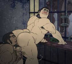 4boys age_difference anal anilingus animasanimus ass avatar_the_last_airbender bara blush body_hair collar erection group_sex licking male_focus multiple_boys muscle nude penis prison rimming the_legend_of_korra tongue yaoi
