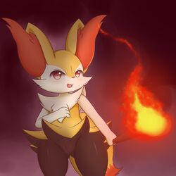 1girl absurdres animal_ears blush braixen fangs female fire fox_ears fox_tail furry hand_up highres holding no_humans okura540 open_mouth pokemon pokemon_(creature) pokemon_xy pussy red_eyes smile solo standing stick tail uncensored
