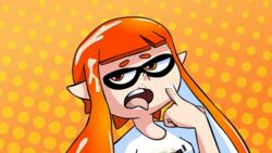 animated clothed clothing cum cum_on_face female footwear half-closed_eyes inkling nintendo open_mouth shirt shoes solo solo_focus splatoon sr_pelo standing tongue tongue_out video_games yellow_eyes