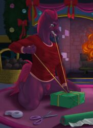 absurd_res anthro anthrofied blush bottomless broken_horn christmas clothed clothing digital_media_(artwork) equine female fire fizzlepop_berrytwist_(mlp) hair hi_res holidays horn inside mammal my_little_pony my_little_pony_the_movie nipple_bulge phathusa pubes pussy ribbons scar scissors solo tempest_shadow_(mlp) unicorn
