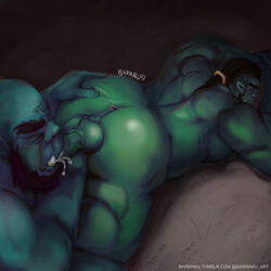 anus ass balls barmaku beard belly big_belly closed_eyes cum cum_in_mouth cum_inside duo facial_hair fellatio green_balls green_penis hair humanoid long_hair male male/male muscular muscular_male nipples oral orc orctober overweight penis presenting sex spreading sucking tusks video_games warcraft