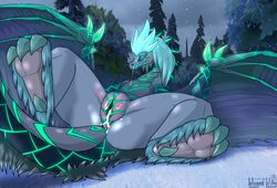ass auroth_the_winter_wyvern bedroom_eyes belly_scales blush claws closed_eyes cum dota dragon female feral fur furred_dragon hair half-closed_eyes horn leaking pussy_juice scales scalie seductive solo spread_legs spreading stripes sweat used video_games wingedwilly wyvern