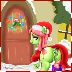 2015 anus ass christmas clothed clothing cutie_mark digital_media_(artwork) dock door earth_pony equine female feral friendship_is_magic gift hair hat hi_res holidays hooves horse long_hair mammal multicolored_hair my_little_pony panties pony pussy rainingskys santa_hat smile snow solo tree_hugger_(mlp) two_tone_hair underhoof underwear