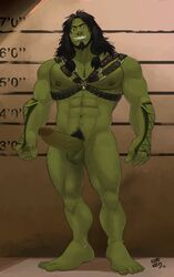 1boy abs bara body_hair erection full_body green_skin kupo_klein leather long_hair male_focus muscle nipples nude orc pecs penis piercing presenting smile solo tattoo teeth testicles