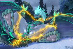 ass auroth_the_winter_wyvern belly_scales blush bondage bondage bound claws closed_eyes dota dragon female feral fur furred_dragon hair horn leaking pussy_juice scales scalie seductive shackles solo spread_legs spreading stripes sweat used video_games wet wingedwilly wyvern