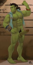 1boy abs barefoot black_gait erection feet full_body green_skin kupo_klein male_focus muscle orc penis presenting solo testicles toes