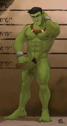 1boy abs barefoot erection feet full_body green_skin kupo_klein male_focus muscle nude orc pecs penis pointy_ears presenting solo testicles toes