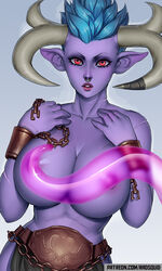 alistar areolae big_breasts breasts female female_only large_breasts league_of_legends looking_at_viewer nipples rule_63 solo the-essential-squid