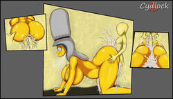 big_ass big_balls big_breasts big_penis crying cum_in_pussy cum_overflow cydlock doggy_style drooling impregnation marge_simpson open_mouth