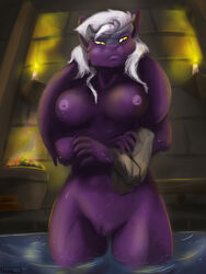 annoyed anthro areola bathing big_breasts breasts candle female fire fur hair head_plate head_tails holtzmann kraskit nipples nude purple_fur pussy solo tabitha_terleir water wet white_hair yellow_eyes