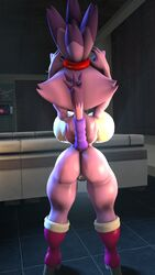 1girl 3d alternate_version_available animal_ears anthro arms_up back_view backboob bare_shoulders big_breasts blaze_the_cat boots busty butt_crack curvy dat_ass detailed_background eyelashes feline female female_only forehead_jewel furry high_heel_boots high_heels hourglass_figure humanoid indoor inside lowkeydiag mammal naked nude pink_skin pose posing room sega shaved_pussy shiny shiny_skin short_hair solo solo_female sonic_(series) standing tail video_game video_games voluptuous wide_hips yellow_eyes