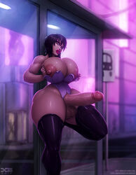 areolae balls barretxiii breasts dickgirl erection futa_only futanari ghost_in_the_shell huge_breasts huge_cock kusanagi_motoko looking_at_viewer nipples penis solo testicles thighhighs