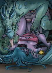 2016 anthro blue_hair breasts chains claws clothing cuffs_(disambiguation) demon digital_media_(artwork) dragon duo female firekitty green_skin hair horn humanoid jewelry long_hair male male/female male_penetrating membranous_wings nipples penetration purple_skin saliva scales scalie sex spikes tongue tongue_out torn_clothing unknown_species vaginal_penetration vaginal_penetration wings yellow_eyes