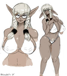 2015 artist_name bangs bikini bracelet braid breasts clothed dark-skinned_female dark_skin dated elf eyewear female female_only glasses huge_breasts humanoid long_ears pointy_ears potionaholic side_braids sidelocks signature solo standing thick_thighs twin_braids voluptuous white_background white_bikini wide_hip