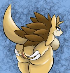 1girl 2018 anthro ass big_ass big_breasts blue_background blue_eyes bork breasts brown_skin claws digital_media_(artwork) embarrassed female female_only looking_at_viewer looking_back nintendo nude open_mouth pokémon_(species) pokemon presenting presenting_hindquarters pussy sandslash scalie sharp_claws simple_background solo spikes spreading standing tail thick_thighs video_games voluptuous wide_hips