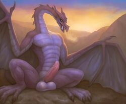 2018 4_toes absurd_res balls belly_scales big_balls breath claws countershading detailed_background digital_media_(artwork) digital_painting_(artwork) dragon empty_eyes erection fangs feral green_eyes hi_res horn humanoid_penis klongi male membranous_wings mighty_max mountain multicolored_scales muscular nude open_mouth outside penis presenting presenting_penis purple_scales purple_wings realistic_wings scales scalie sharp_teeth signature sitting smile solo spread_legs spread_wings spreading sunrise talons teeth toe_claws toes tongue two_tone_scales western_dragon wing_claws wings