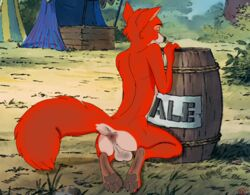 anthro anus ass balls canine disney fan_character fell flirting fox hindpaw looking_at_viewer male mammal paws pinup pose presenting raised_tail red_fox robin_hood seductive solo suggestive yiffykicks