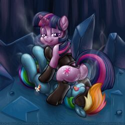2018 blindfold breath clothing corset crytal_castle cutie_mark domination female female/female female_domination friendship_is_magic hi_res implied_anilingus legwear lingerie looking_back lying my_little_pony on_back on_top purple_eyes pussy_juice pussy_juice_string rainbow_dash_(mlp) saliva smudge_proof socks straddling submissive thigh_highs tongue twilight_sparkle_(mlp) yuri