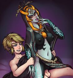 arm_grab blonde_hair blue_eyes clothed_female_nude_male earrings elf finger_on_lips functionally_nude jewelry kreschun link midna nintendo red_eyes red_hair reverse_cowgirl tattoos the_legend_of_zelda twili_midna twilight_princess