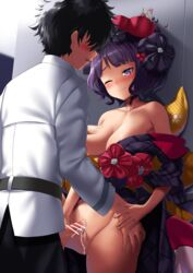 1boy areola_slip areolae bangs bar_censor bare_shoulders belt black_hair black_pants blue_eyes blush breast_grab breasts censored cleavage collarbone cum cum_on_body cum_on_lower_body fate/grand_order fate_(series) female flower fujimaru_ritsuka_(male) grabbing groping hair_flower hair_ornament hairpin hand_holding hand_on_another's_hip highres hitotsuki_nebura japanese_clothes katsushika_hokusai_(fate/grand_order) kimono large_breasts no_panties off_shoulder one_eye_closed open_mouth pants penis purple_hair purple_kimono pussy sash shirt short_hair smile sweat white_shirt