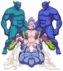 animated bouncing_breasts chijoku_no_troll_busters cowgirl_position cum_in_pussy cum_inside elf female gangbang handjob lactation moan moaning orc overflow pixel_art pregnant stroking tagme