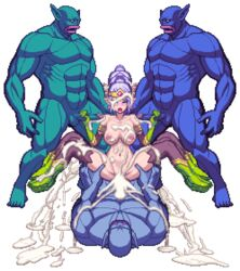 animated bouncing_breasts chijoku_no_troll_busters cowgirl_position creampie cum_in_pussy cum_inside elf female gangbang handjob moan moaning orc overflow pixel_art purple_hair stroking tagme