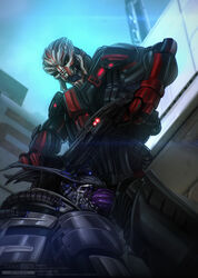alien anthro cybernetics cyborg forced forced_oral gun machine male male/male mass_effect nihlus_kryik oral oral_penetration penetration penis ranged_weapon saren_arterius sex thick_penis todex turian video_games weapon