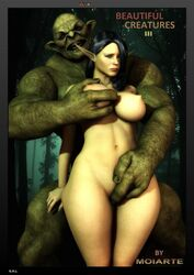 big_ass big_breasts elf elf_ears female fingering forest moiarte monster orc outdoors outside