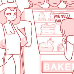 animated apron areolae breasts chef_hat cherry chocolate cleavage cock confused confusion fellatio female glory_hole huge_breasts male manyakis medium_hair nipples original penis penis_lick straight whipped_cream