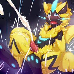1boy 3_toes autofacial bioluminescence black_fur blue_background blue_eyes blue_fur blush claws cum cum_on_face cum_on_own_face cumshot drooling ejaculation electricity erection excessive_cum eyelashes facial fang fangs feet feline fur furry glowing half-closed_eyes kumakuma looking_up male male_only mammal motion_lines nintendo no_nipples nude open_mouth orgasm pawpads paws penis pokémon_(species) pokemon pokemon_usm saliva simple_background soles solo spread_legs stripes sweat tears teeth testicles thick_thighs tongue trembling video_games wet whiskers yellow_fur zeraora