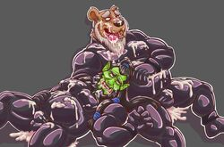 2016 5_fingers absurd_res after_sex anthro bear beard black_nose bodysuit brown_fur bulge clothed clothing cum cum_everywhere cum_in_mouth cum_inside cum_on_chest cum_on_face cum_on_ground cum_on_tongue digital_drawing_(artwork) digital_media_(artwork) duo excessive_cum facial_hair facial_piercing fur green_skin grey_background griz_urso hair hi_res humanoid interspecies male male/male mammal messy muscular muscular_male nose_piercing nose_ring open_mouth orc overweight piercing ponytail rubber shiny simple_background skinsuit smile teeth thrall tight_clothing tongue tongue_out video_games warcraft