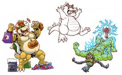 2016 anthro bag balls bodypaint bowser bracelet candy chibi closed_eyes clothing collar cum digital_drawing_(artwork) digital_media_(artwork) electricity electrostimulation fangs food fruit green_balls green_penis griz_urso hairy halloween hands-free hi_res holidays humanoid jewelry jockstrap koopa lollipop lying male mario_bros mask multiple_images musclegut muscular muscular_male nickelodeon nintendo nipple_piercing nipples orc orgasm penis piercing pumpkin raised_arm reptar rugrats scalie sharp_teeth simple_background sketch_page slightly_chubby solo spiked_armlet spiked_bracelet spiked_collar spikes standing step_pose teeth thrall underwear video_games
