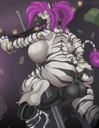 anthro ass breasts cum dickgirl ejaculation equine equine_penis erection full-package_futanari futanari handsfree_ejaculation horsecock intersex large_breasts large_penis long_hair nipples nude penis pole_dancing purple_hair pussy pussy_juice solo tail testicles wennie xpray zebra